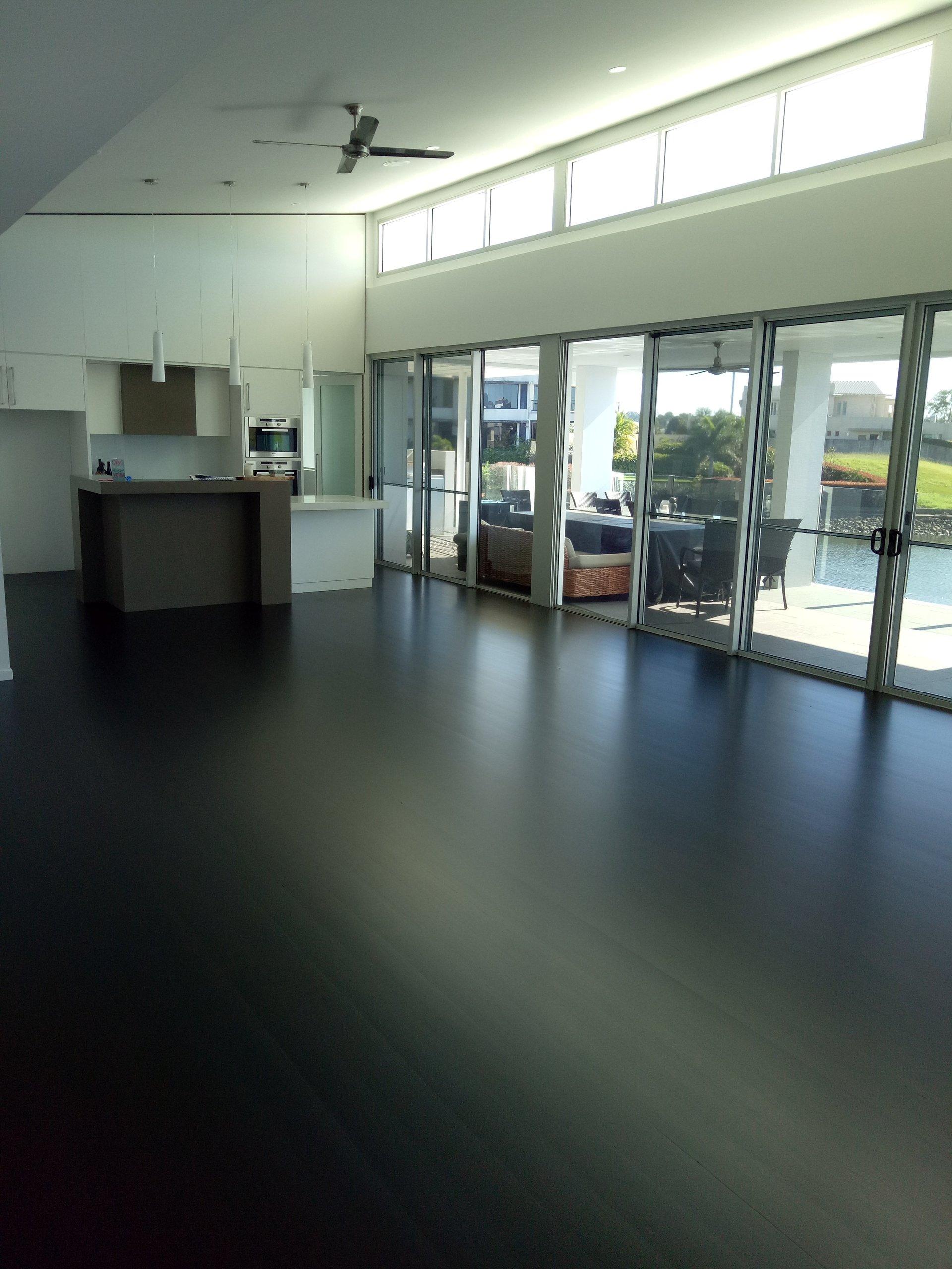 black timber flooring