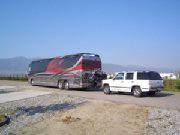 Cruiserlift RV Motorcycle Lift on Prevost Coach Flat Towing Suburban