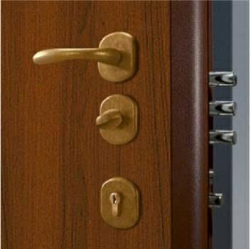 vista di una maniglia di una maniglia in ottone di una porta blindata color marrone