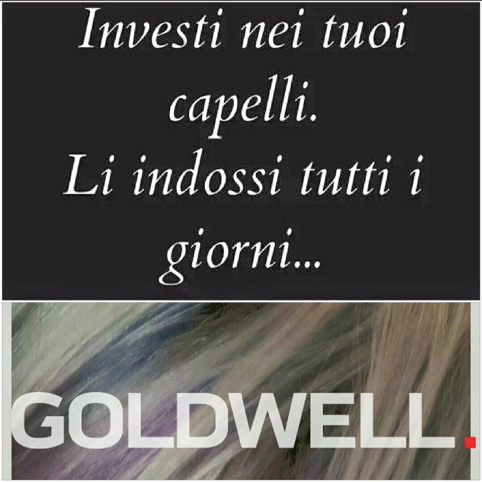 Una scritta con scritto Investi nei tuoi capelli. Li indossi tutti i giorni… Goldwell su uno sfondo di capelli biondi
