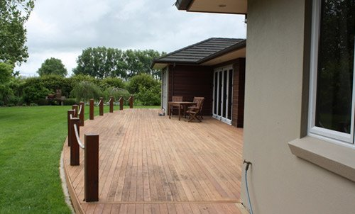 View of a newly constructed deck around the house