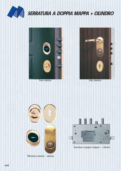 serratura a doppia mappa con cilindro