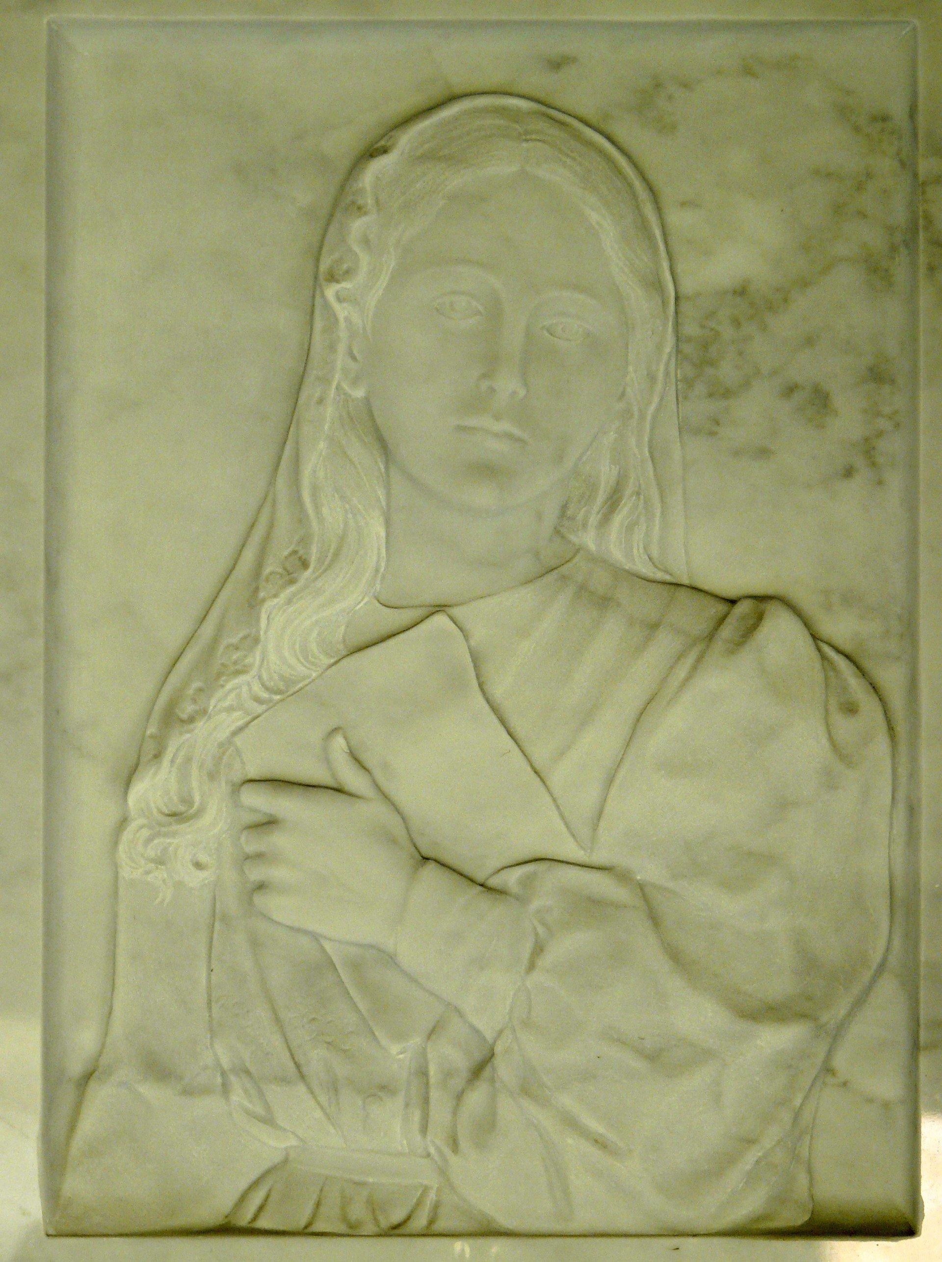 bassorilievo su marmo giallo rappresentante gesù