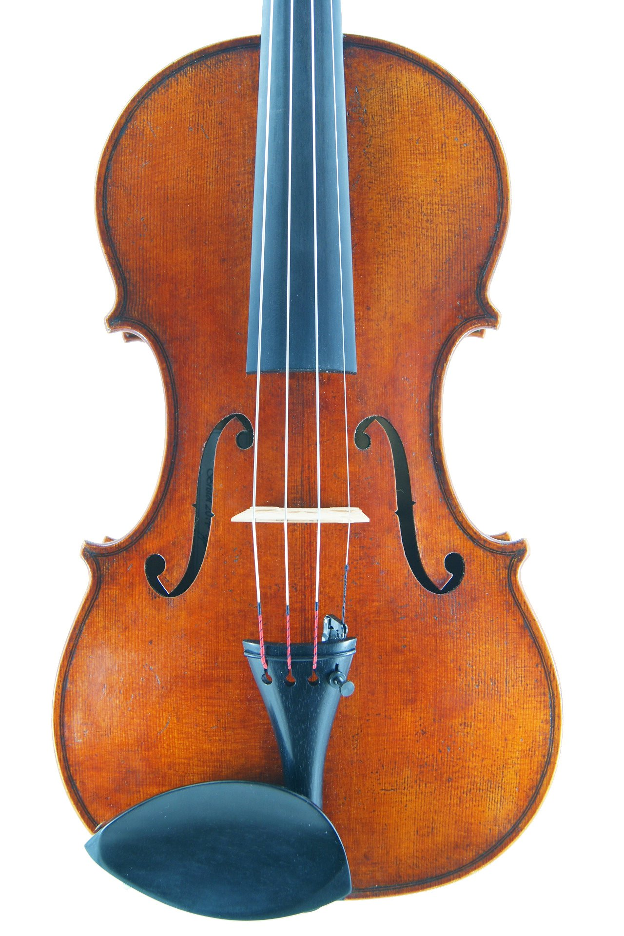 front of new violin modelled on Guarneri Del Gesu
