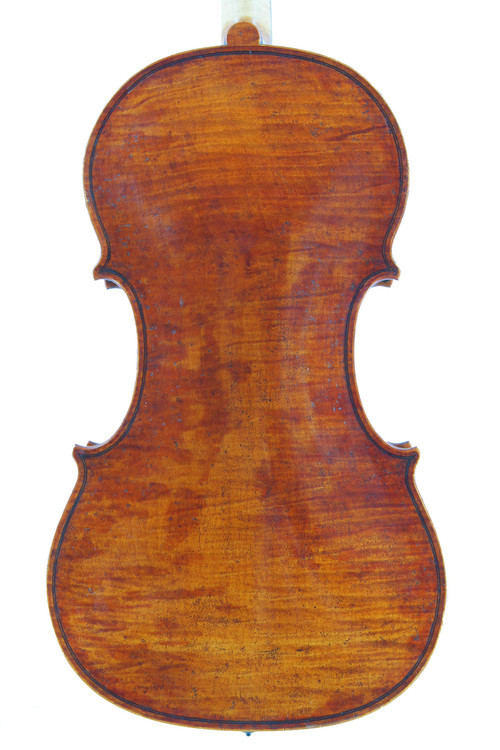 back of new Guarneri Del Gesu model violin