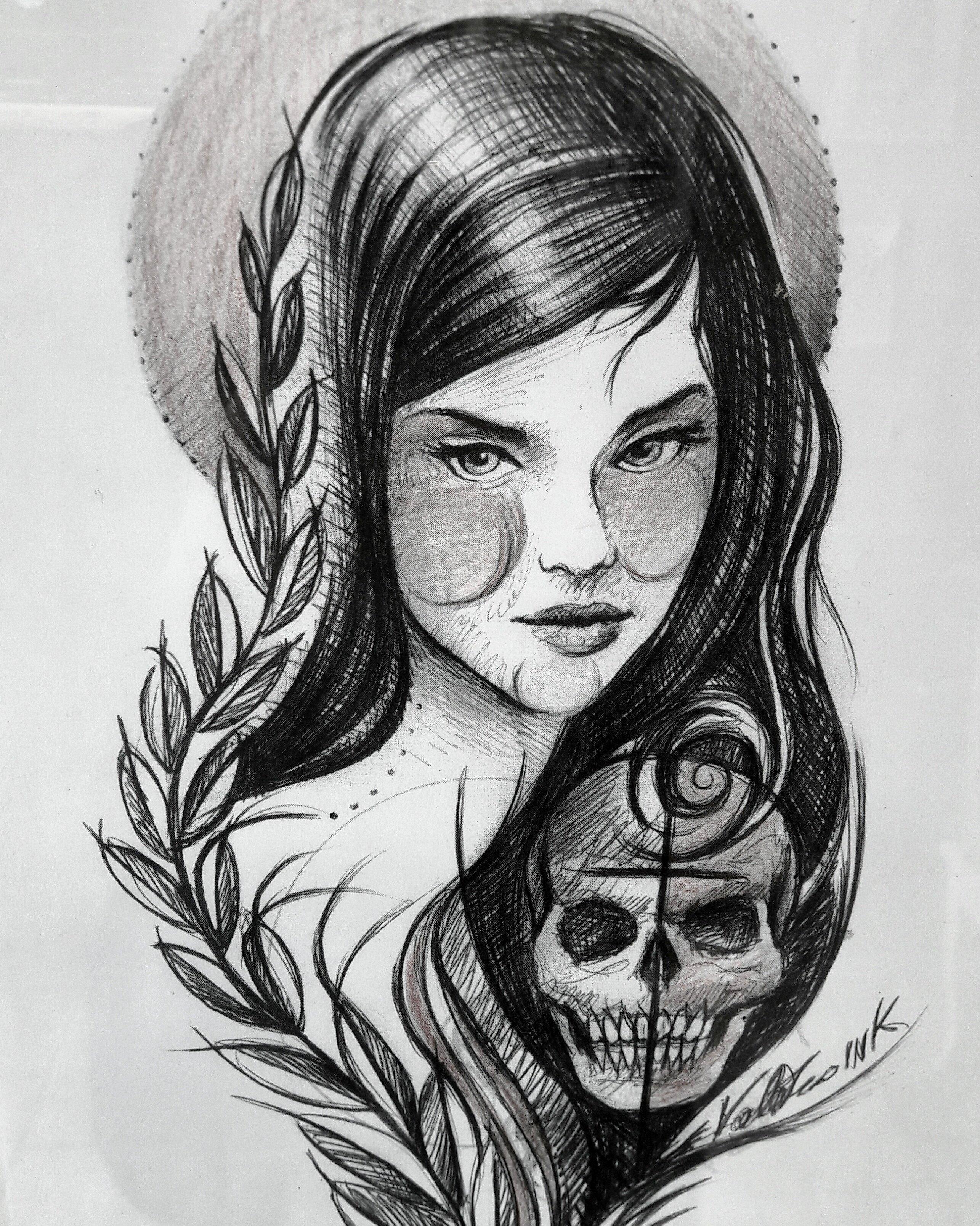tatuaggio con donna e teschio