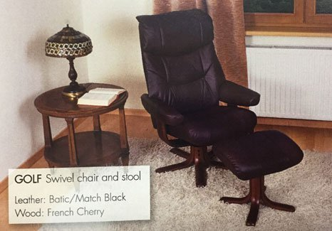 black leather swivel chair and stool