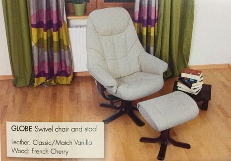 vanilla coloured swivel chair and stool