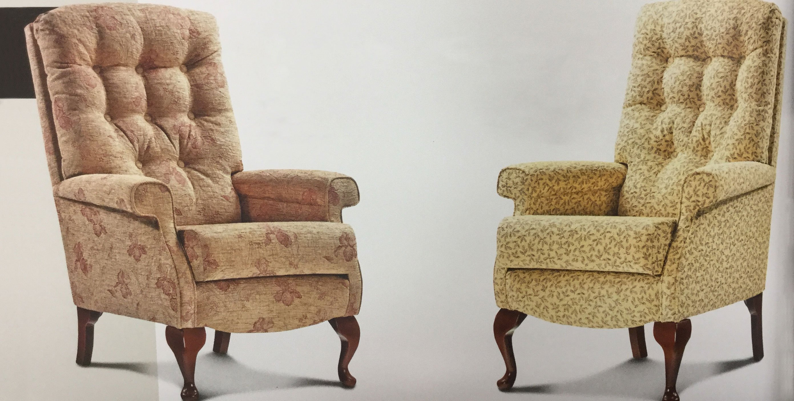 two patterned armchairs