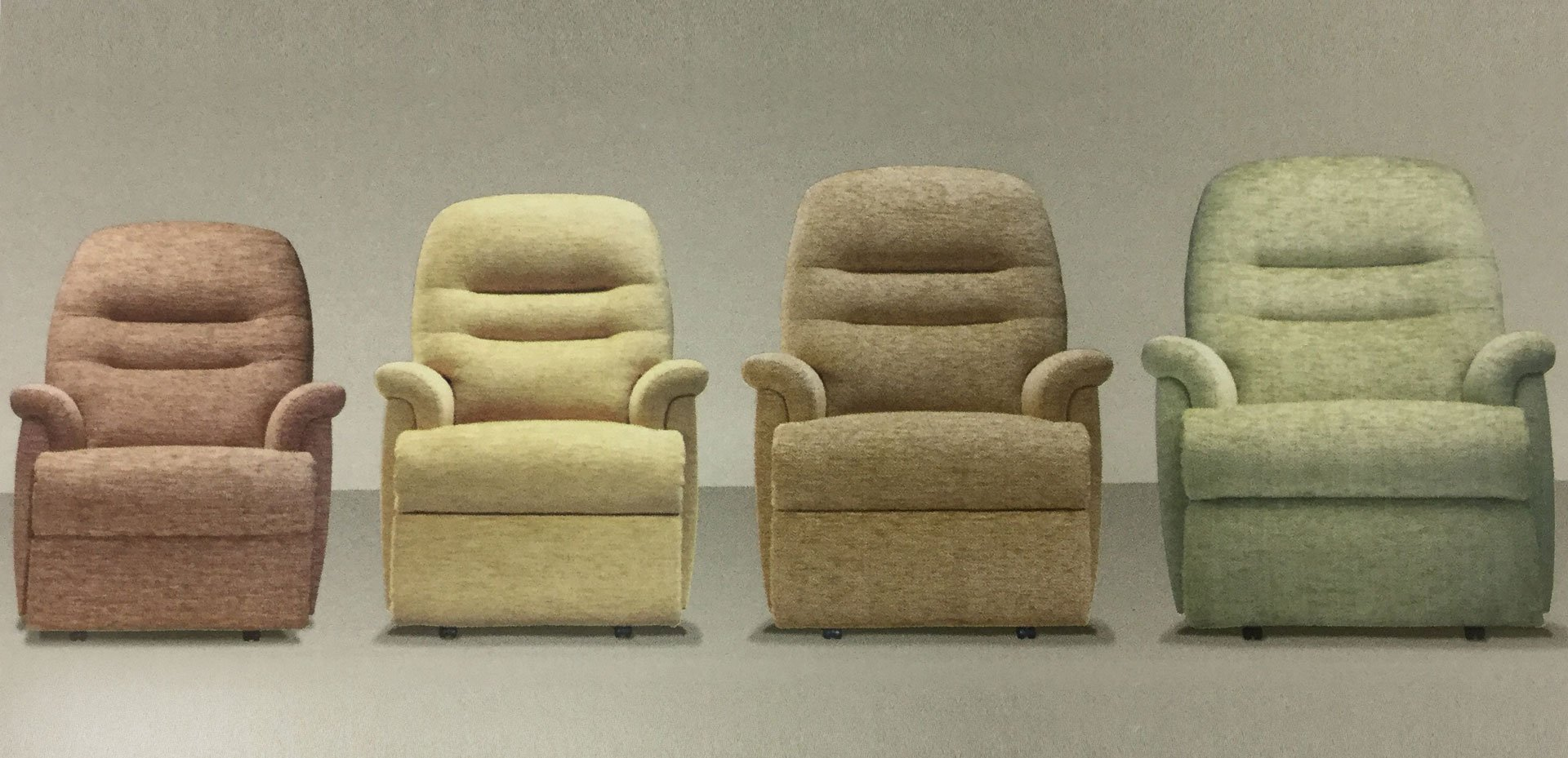 different sized and coloured electric powered chairs