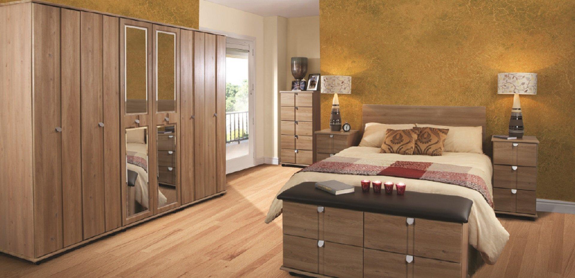 new wooden wardrobe in bedroom