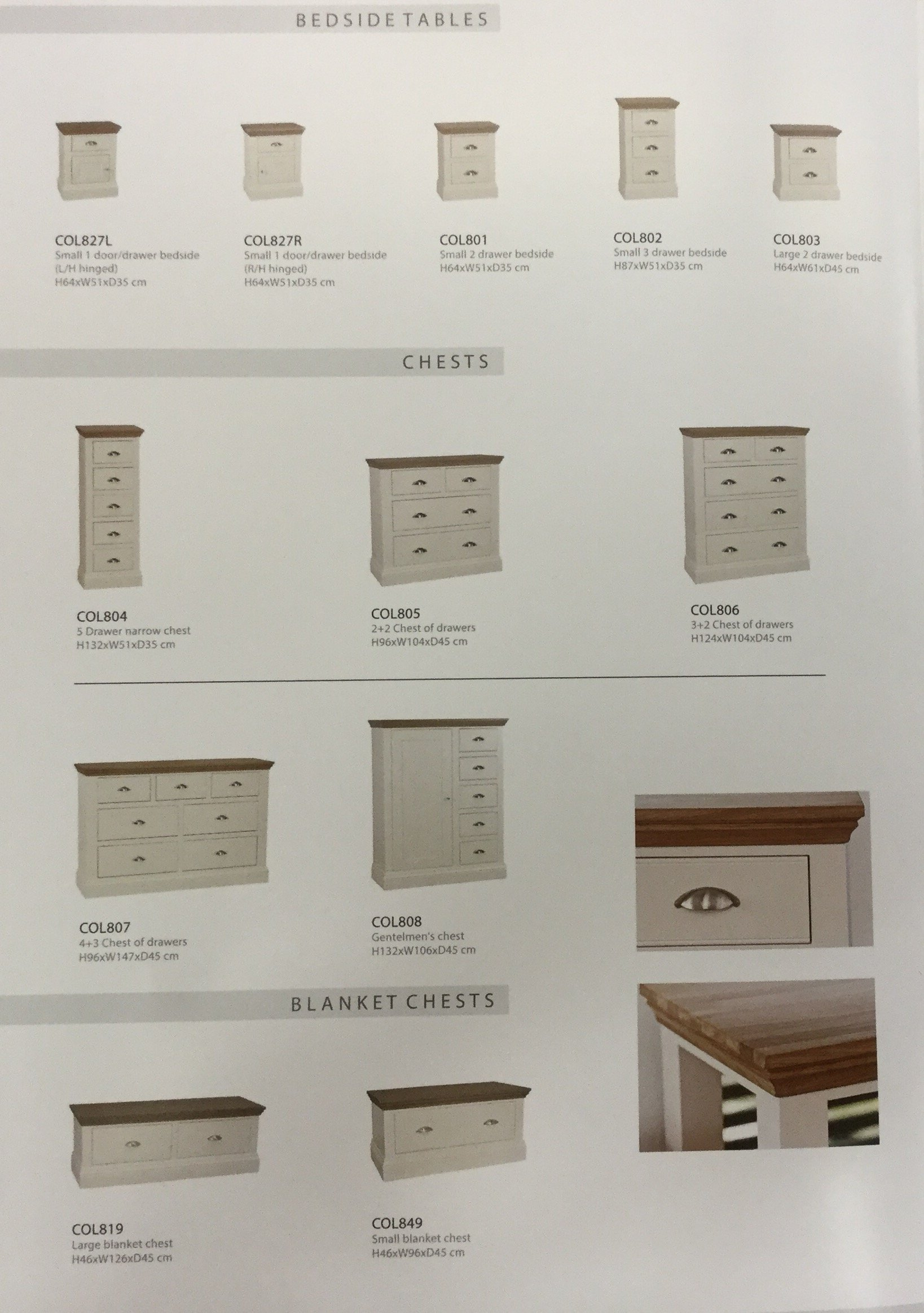selection of bedroom drawers