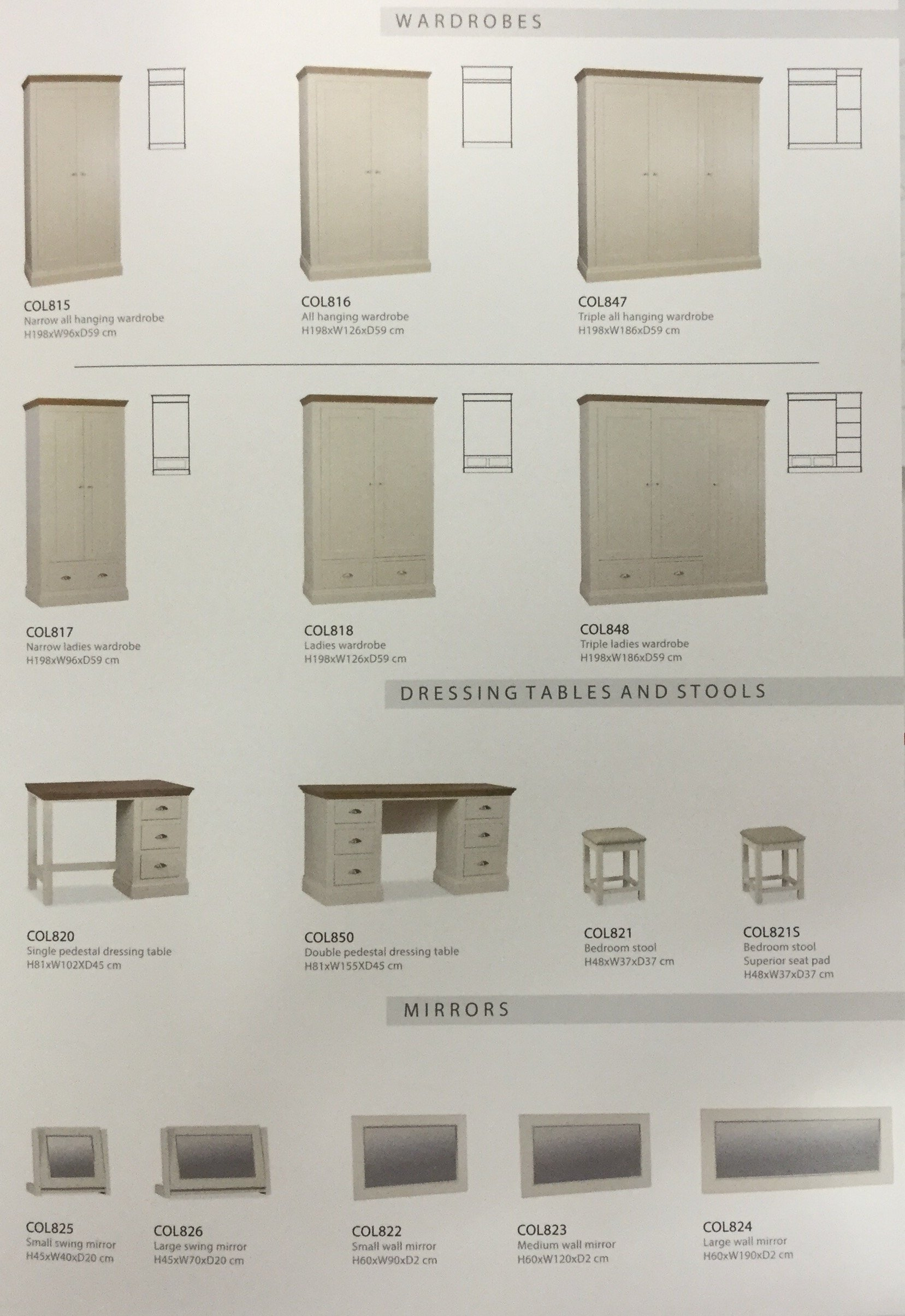 selection of cream bedroom wardrobes