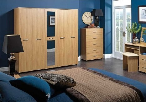 wooden wardrobe in blue bedroom