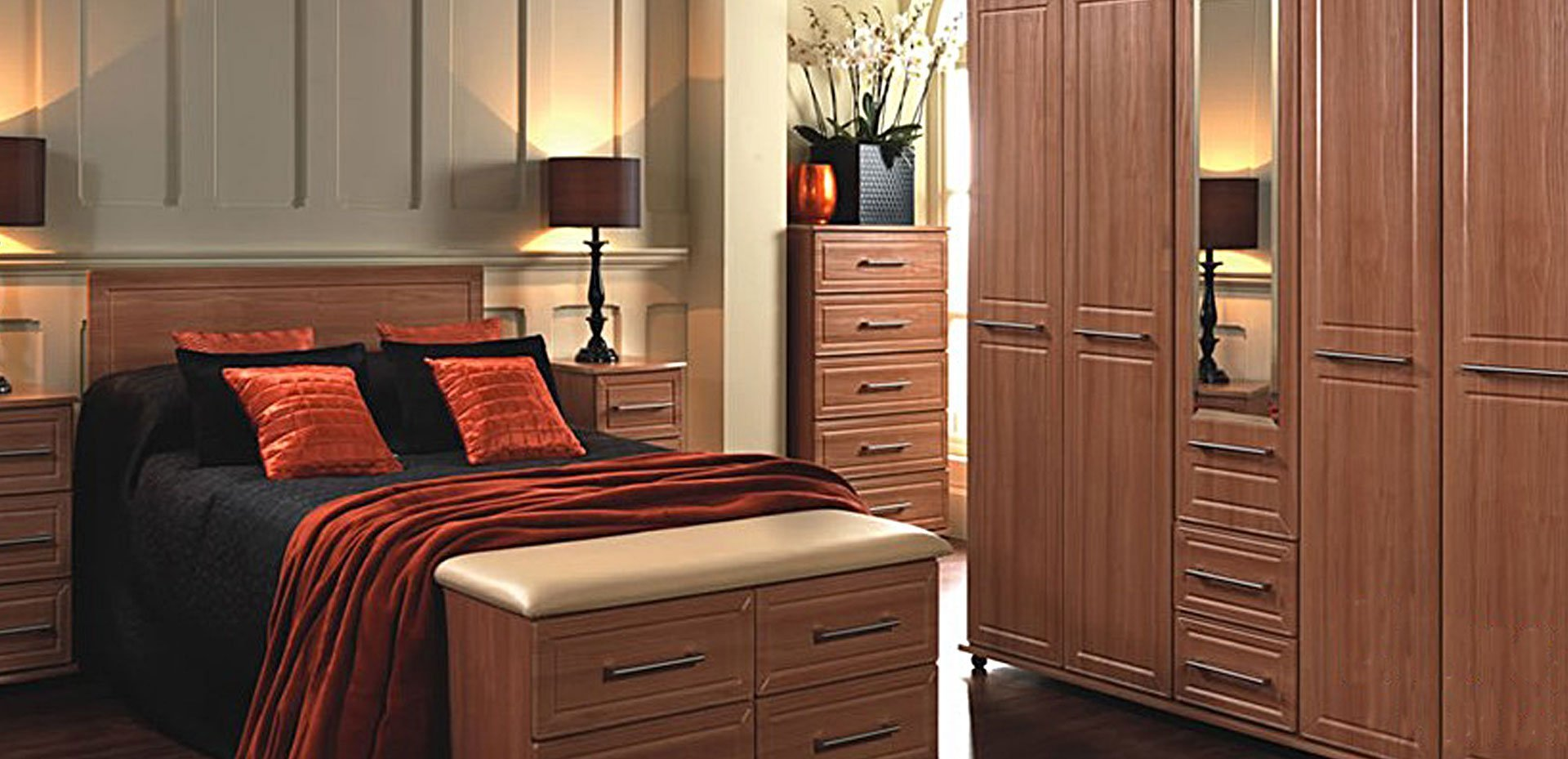 bedroom with wooden features