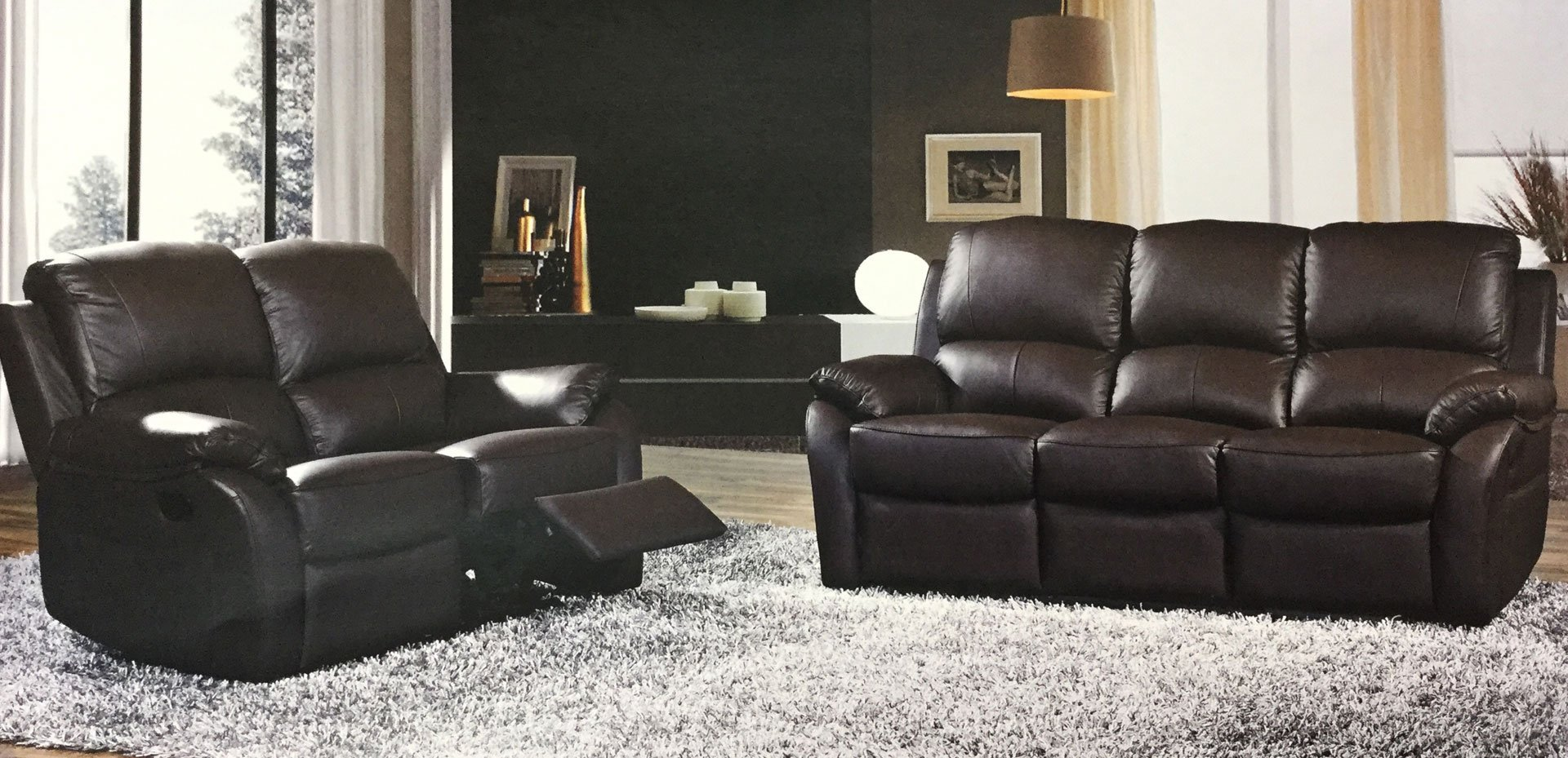 brown leather living room suite