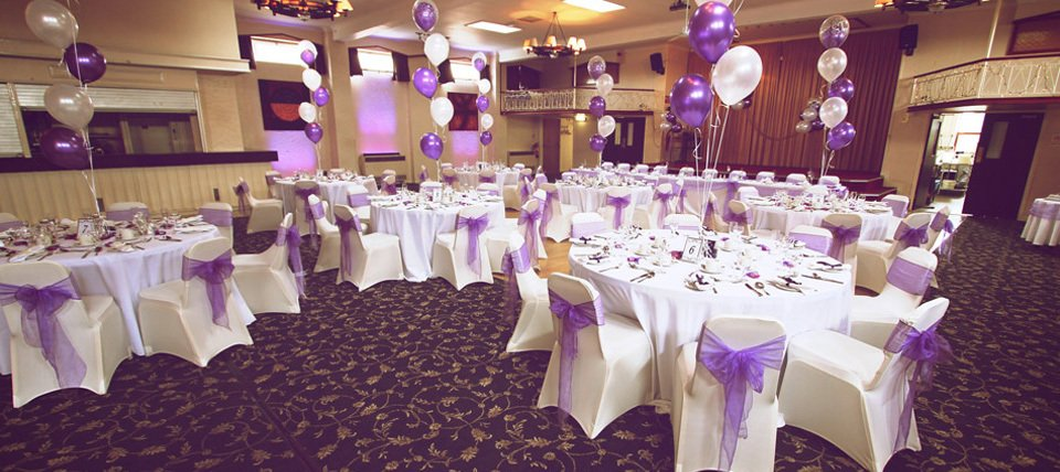 Hall and furniture decorated for a celebration