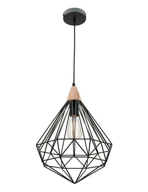 Black Cage Pendant with Timber Top $149.50