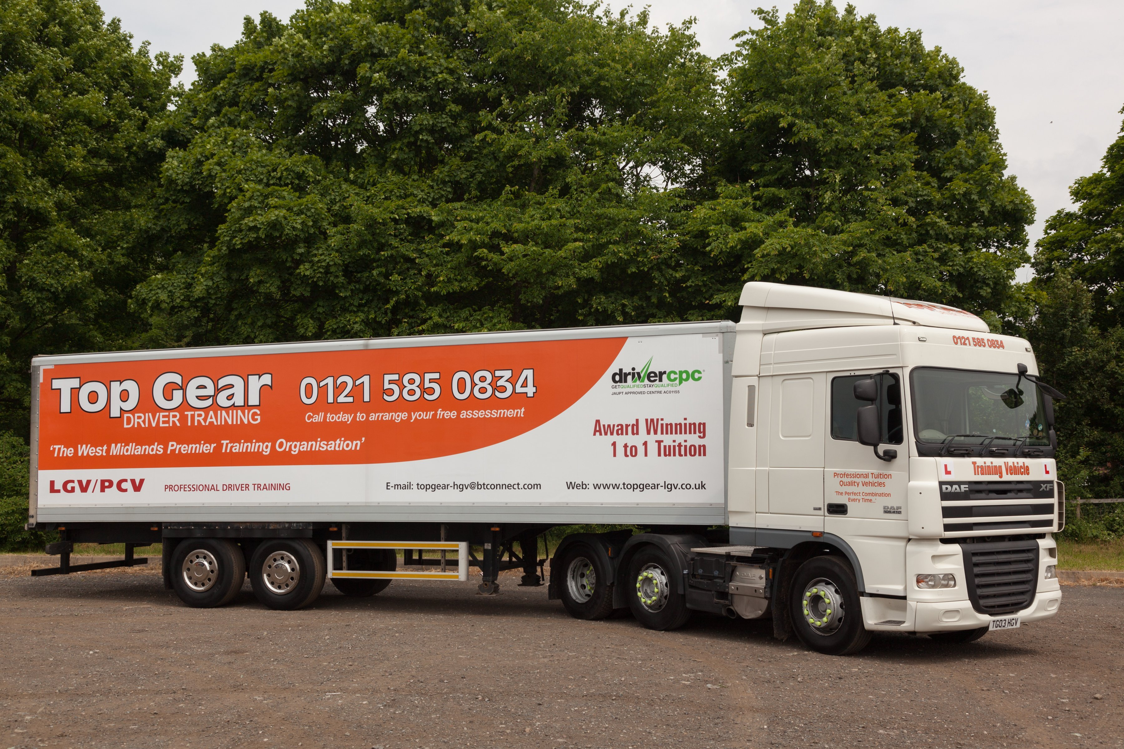 side view of Top Gear liveried articulated lorry