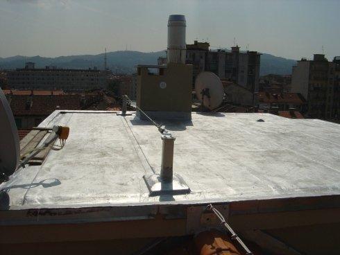 installazione linea lita su tetto piano