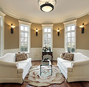 Living room with wall sconces