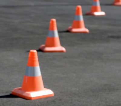 High visibility cones in a line