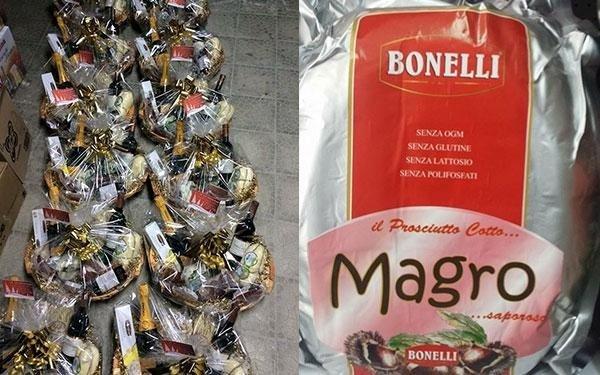 due immagini, in una vi sono dei cestini natalizi in un altra una confezione di prosciutto cotto marca Bonelli
