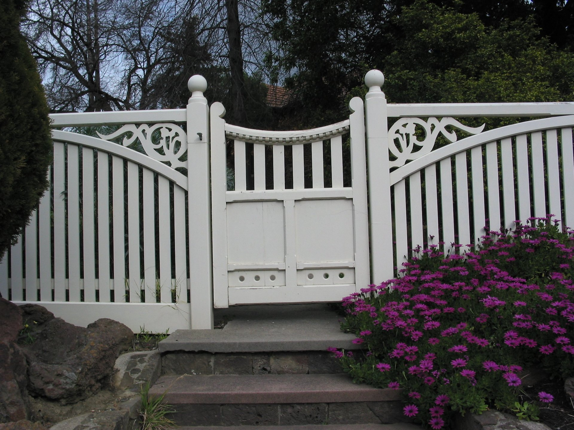 Timber picket feature gate with fence by Perry Bird Pickets