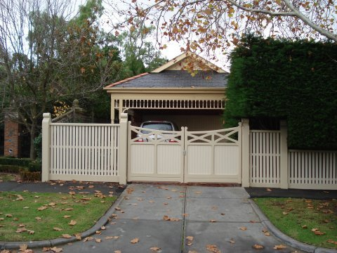 Double swing feature gate by Perry Bird Pickets