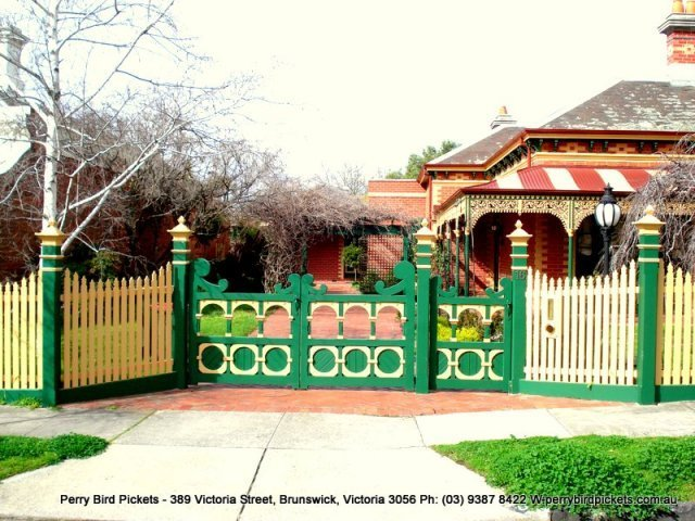 bright green decorative fence and feature gate