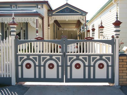 Timber double feature swing gate by Perry Bird Pickets