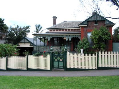 picket pence and verandah of victorian house
