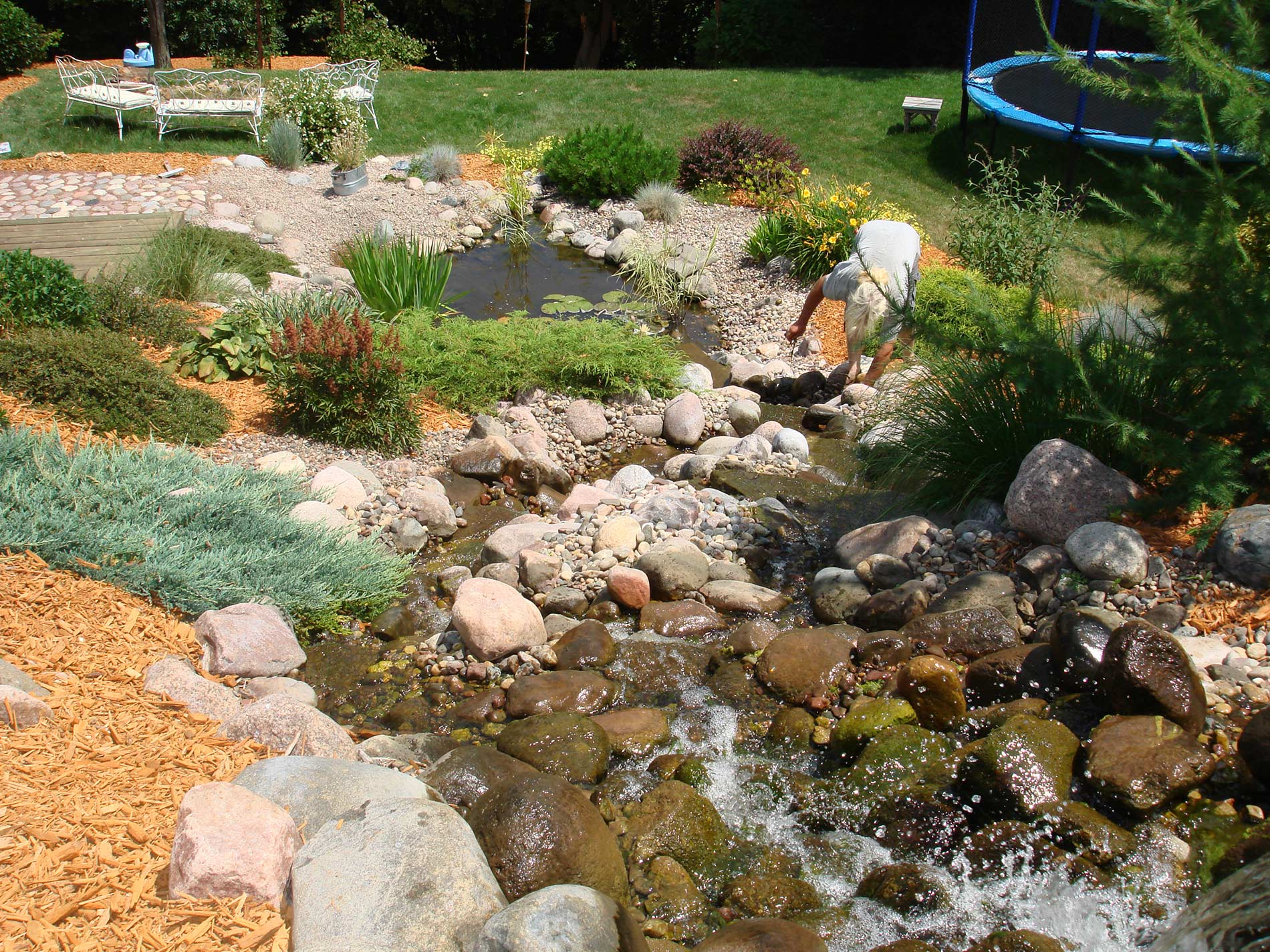 Add ponds, fountains, and waterfalls to landscape