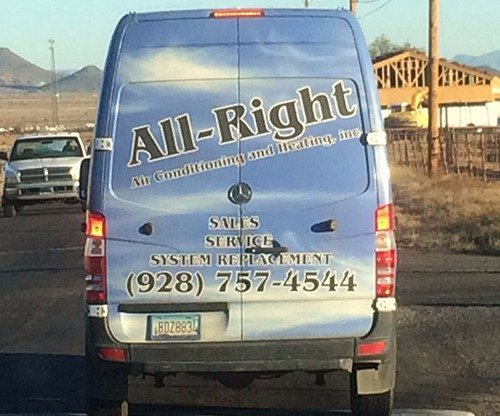 All-Right Air Conditioning professionals in a wrapped van in Kingman, AZ