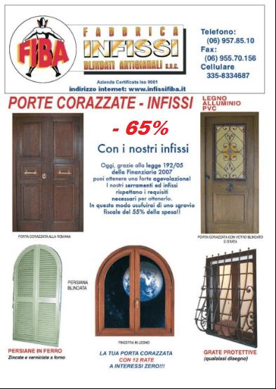 Offerte porte blindate e infissi in pvc roma genazzano for Offerte infissi roma