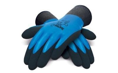 paio di guanti nere e blu da lavoro