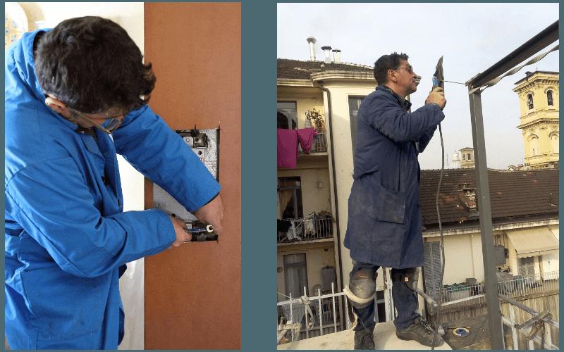 due uomini che controllano le serrature