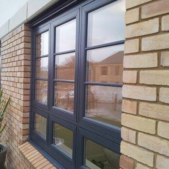 Blue casement windows
