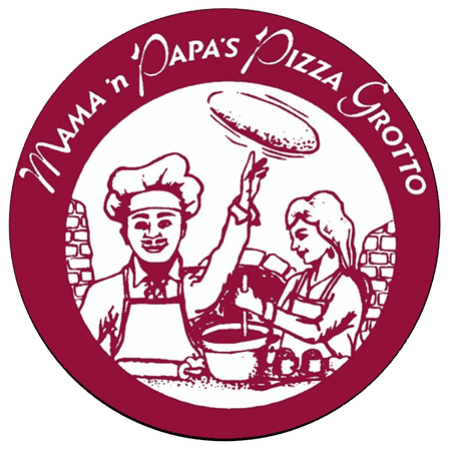 mama n papas pizza grotto logo