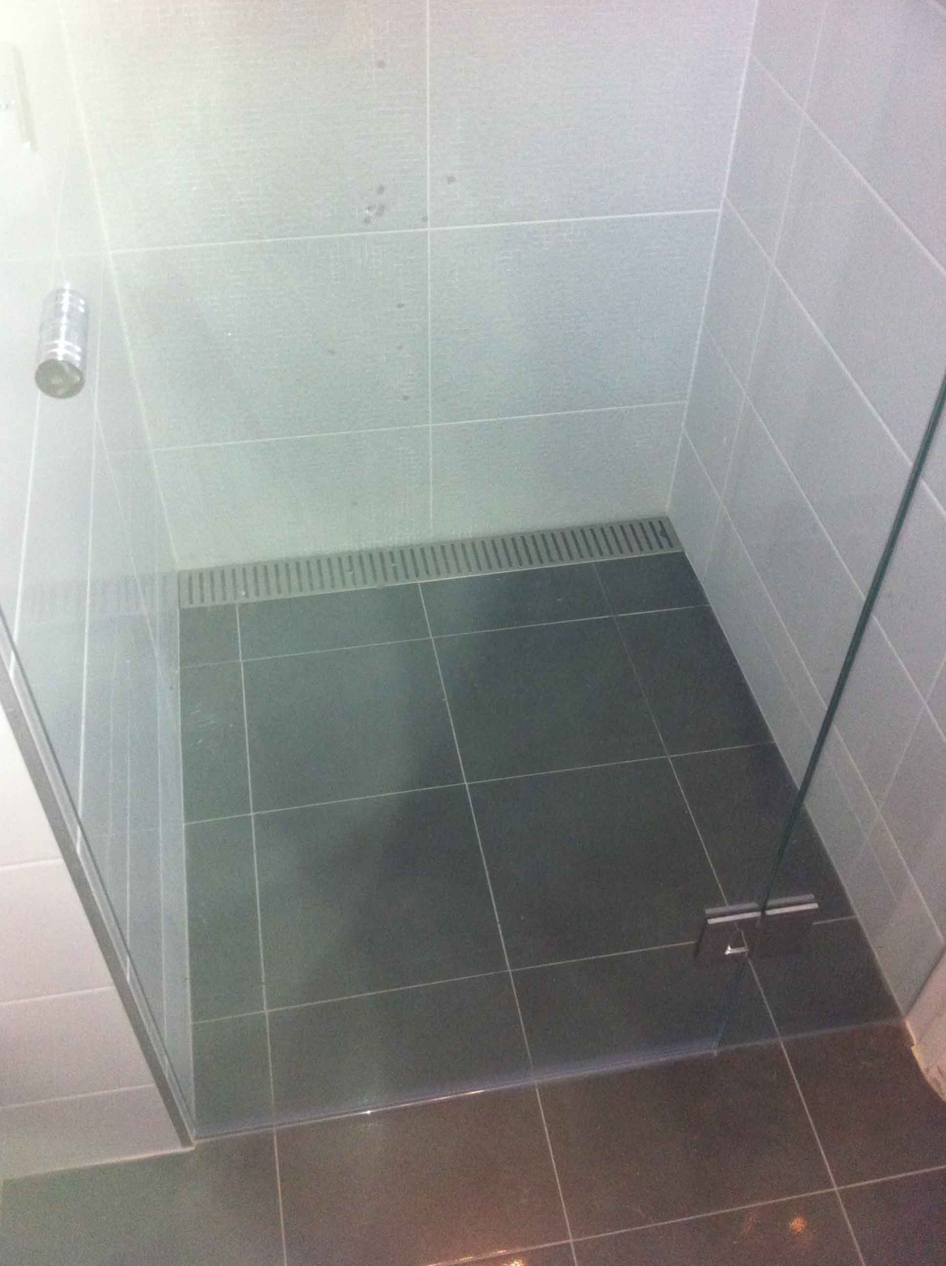 View of a bathroom floor tiling