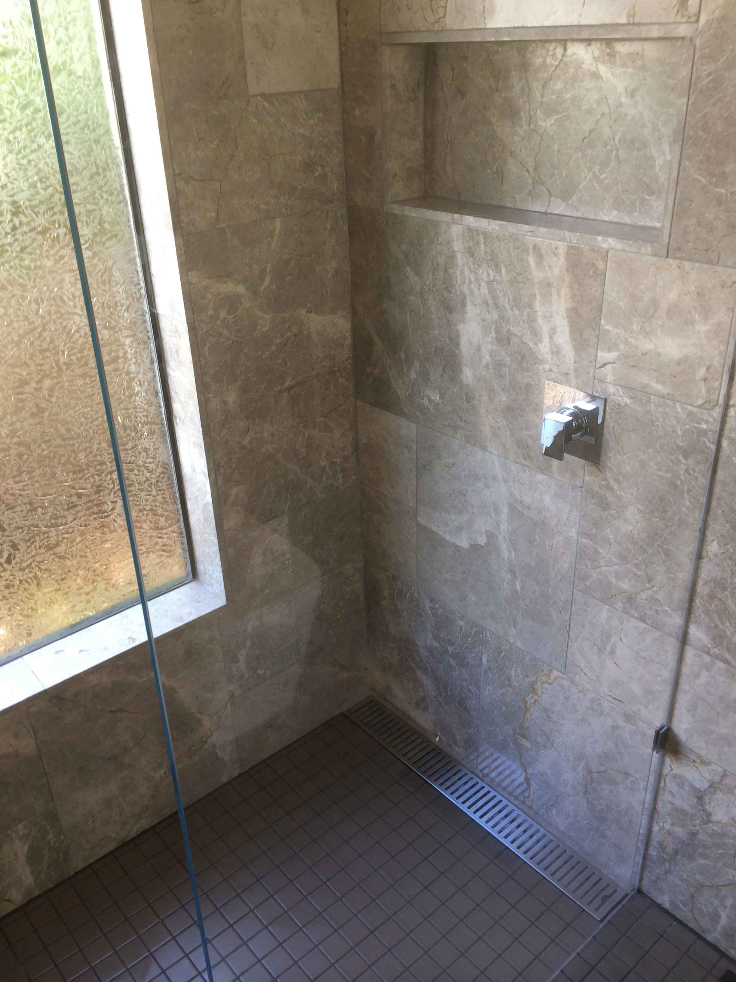 View of the  tiling done in the shower