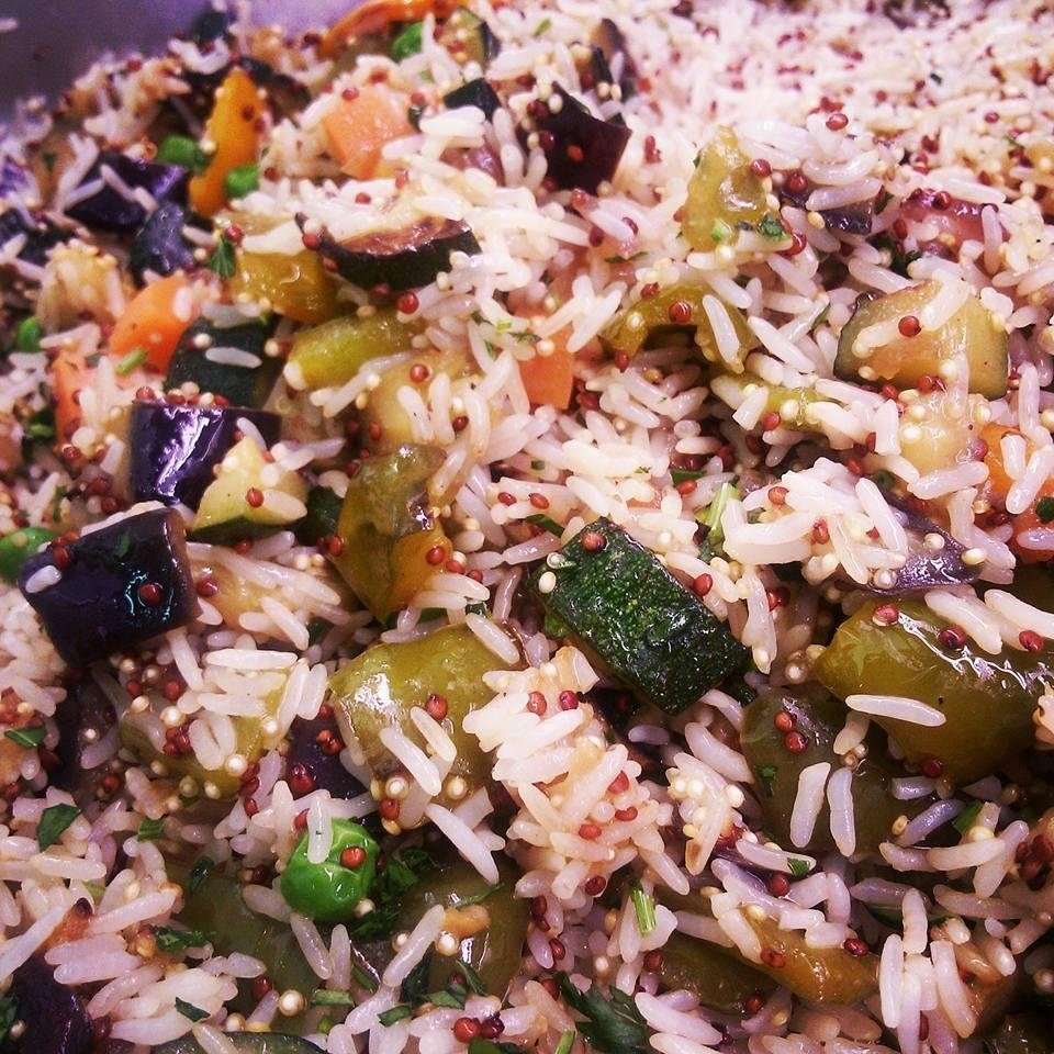Riso e quinoa con verdura