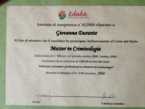 Dott.ssa Giovanna Durante - Master in Criminologia