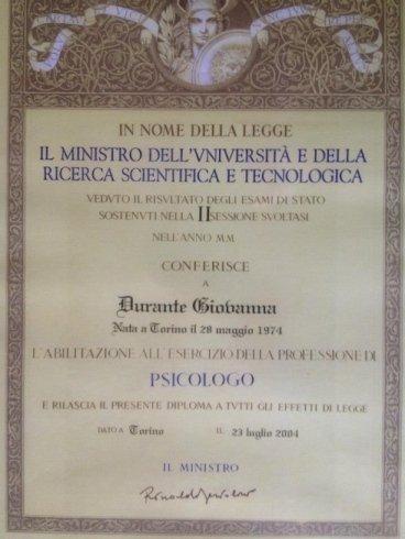 Dott.ssa Gioavanna Durante - Psicologa