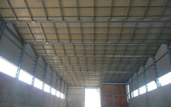 Delle strutture in ferro reggono il  tetto  di un capannone