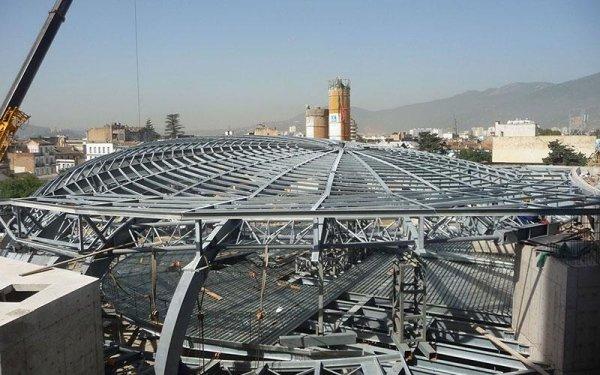 vista da lontano delle strutture in ferro curve a rete di un edificio in fase di costruzione