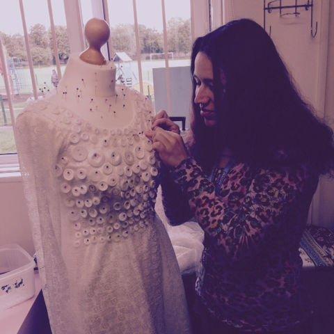girl designing a dress