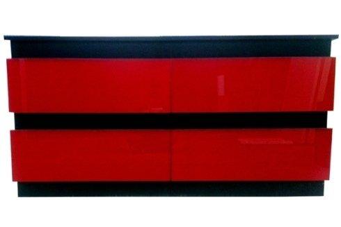 Bancone wengè bifasciato rosso lucido con cassetti e vani a giorno.