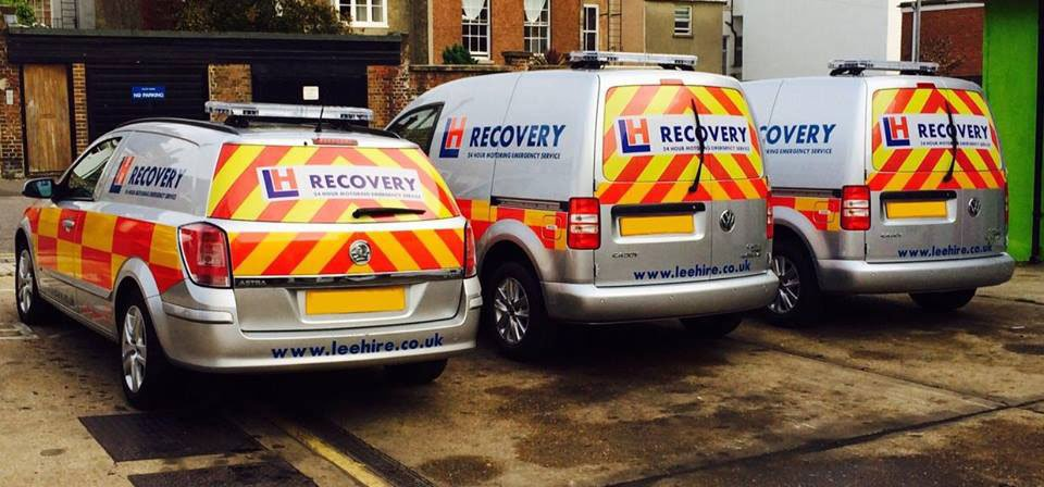 recovery vehicles parked