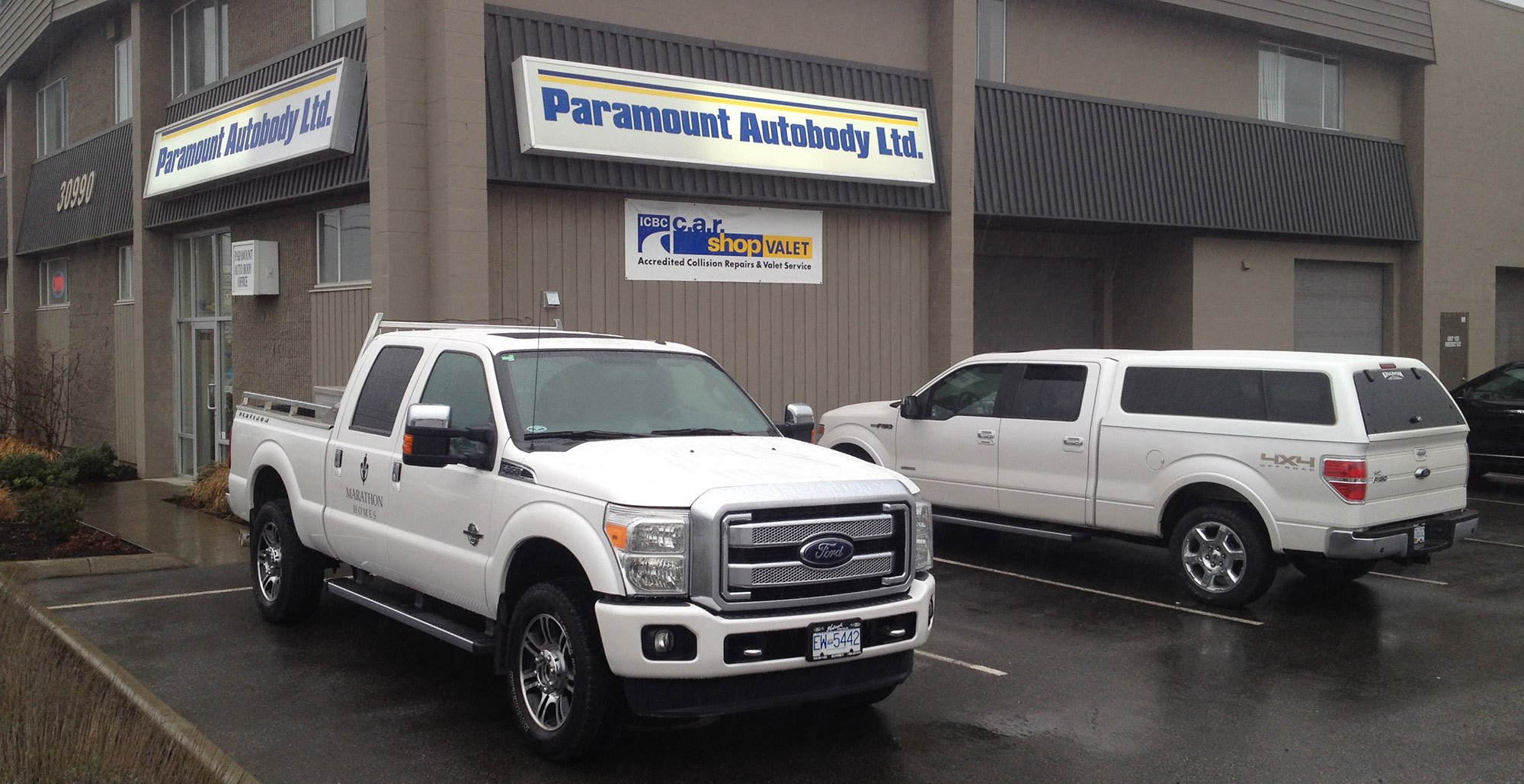 facade of our Paramount Autobody shop in Abbotsford